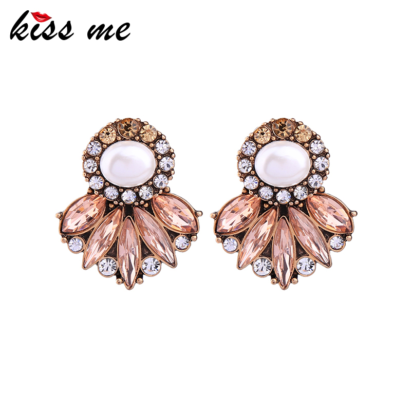 KISS ME Brand Statement Earrings New Fashion Simulated Pearl Crystal - Κοσμήματα μόδας