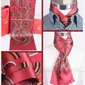 Fashion Mens 100% Silk Long Scarf/Cravat Scarives Brand Double Layer  Red Blue