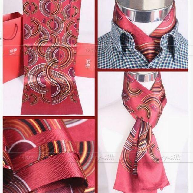 Moda Para Hombre 100% de Seda Largo de La Bufanda/Pañuelo Scarives Marca Doble Capa Azul Rojo