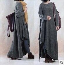 Новая версия продукта в осенью 2015 года оригинальный дизайн свободные большие ярдов Асимметрия трикотажные хлопка женщин длинный свитер