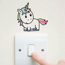 Cartoon Unicorn Light Switch Color Wall Stickers For Kids Rooms Bedroom Removable Switch Wall Art Decals Home Decor(China)