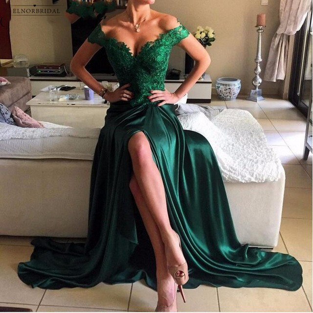 Dark Green Mermaid Evening Dresses 2019 Avondjurken Gala Jurken Off The Shoulder Prom Dinner Gowns Formal Women Party Dress