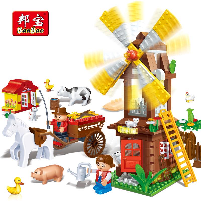BanBao Moulin À Vent Maison Ferme Campagne Animaux Briques Éducatifs Blocs de Construction Modèle Jouets Enfants Enfants Compatible Avec Legoe