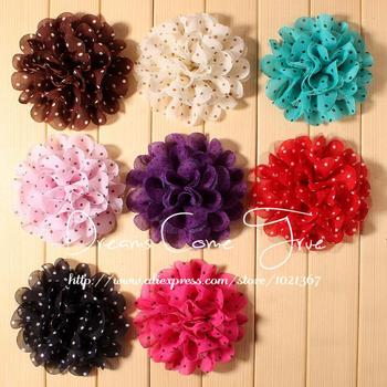 "200pcs/lot 3.5"" 8Colors Newborn DIY Crochet Fabric Chiffon Flower Accessory Artificial Fashion Tulle Mesh Flowers With Polka Dot"