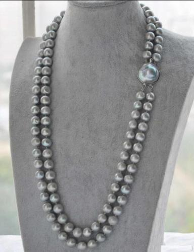 VERY BEAUTIFUL 2 ROW SOUTH SEA AAA 9-10MM GRAY NATURAL PEARL NECKLACE 20-21 >ePacket free shipping