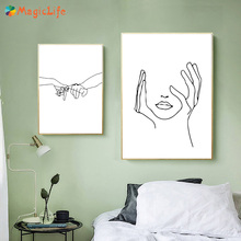 Abstract Hands And Faces Decor Wall Art Canvas Painting Nordic Poster Love Wall Pictures For Living Room Art Prints Unframed