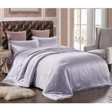 ใหม่ 100% ผ้าไหมหม่อนบริสุทธิ์ชุดเครื่องนอน 3 ชิ้นผ้าคลุมเตียงผ้าไหมปลอกหมอนซองจดหมายผ้าคลุมเตียงผ้าไหมชุด Multicolor Multi ขนาด