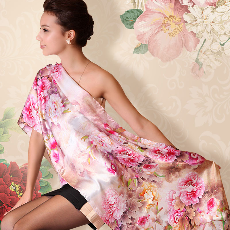 [BYSIFA] Autumn Women's Mulberry Silk Silk Scarf Shawl 175*52cm Brand Luxury Elegant Chinese Peony Female Long Scarves Wraps