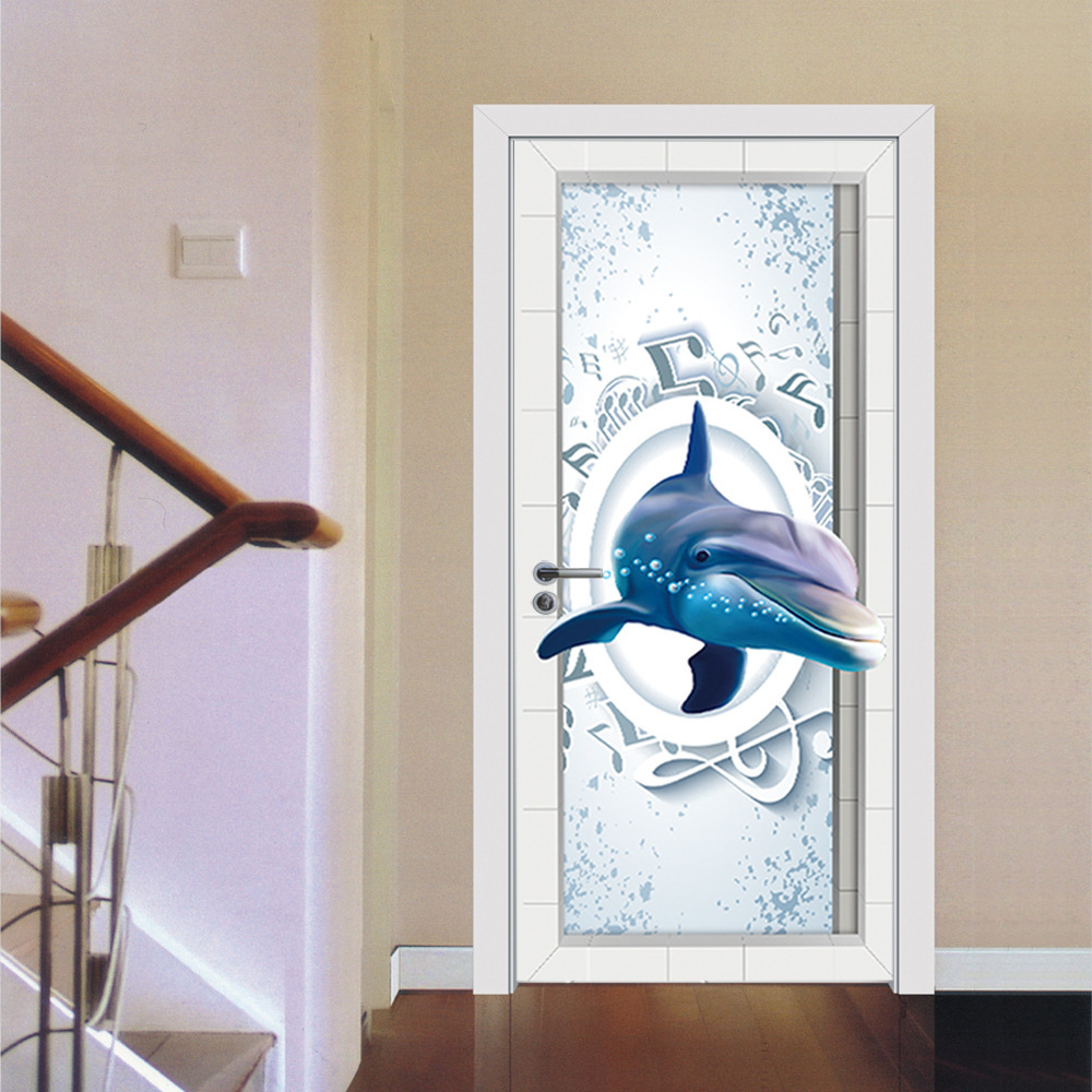 Dolphin Music Fridge Door Sticker PVC Self adhesive Wallpaper Refrigerator Cover Window Film