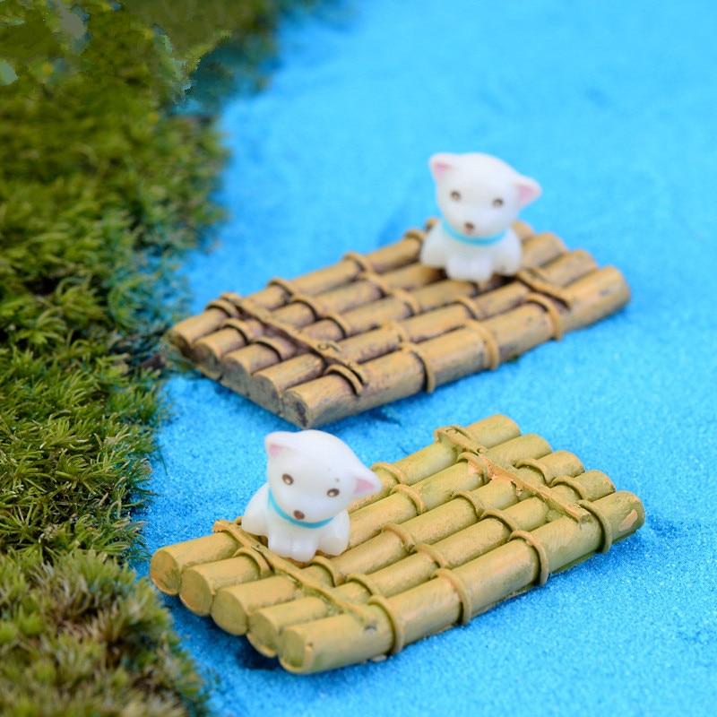 XBJ173 Mini 3pcs Bamboo raft boat decoration supplies moss micro landscape deco Garden deco Creative handicrafts
