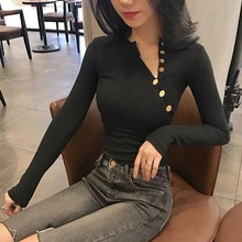 Casual Solid Color Shirt Oblique Collar Sexy Tight Long Sleeve Tops Women Basic Spring Autumn