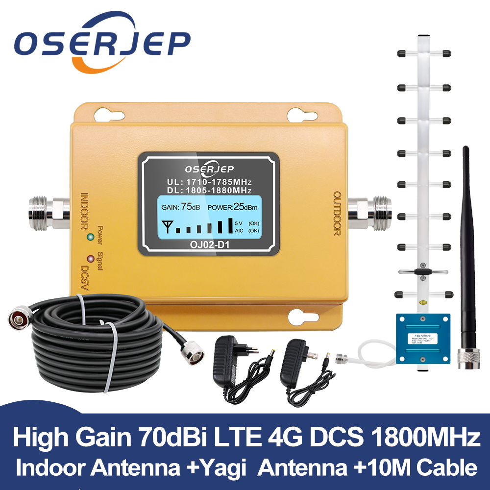 GSM LTE 1800 LCD 70dB Gain 2g 4g Cell Phone Signal Repeater DCS 1800MHz Mobile Amplifier