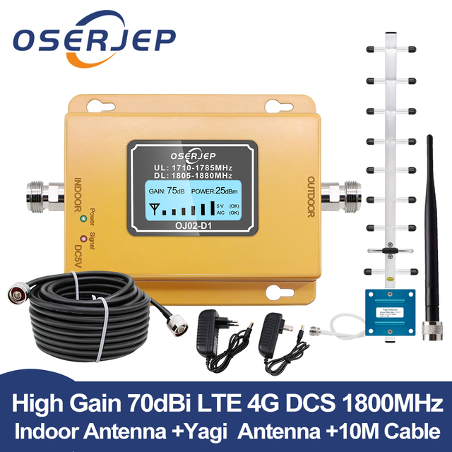GSM LTE 1800 LCD 70dB Gain 2g 4g band3 Cell Phone Signal Repeater DCS 1800MHz Mobile Amplifier GSM Signal Booster + Antenna