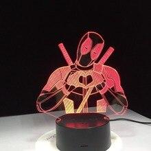 Awkward Deadpool With Heart Night Light 3D Table Lamp Optical illusion Bedside Lampy Decoration Led Bulbing Motion Sensor Light