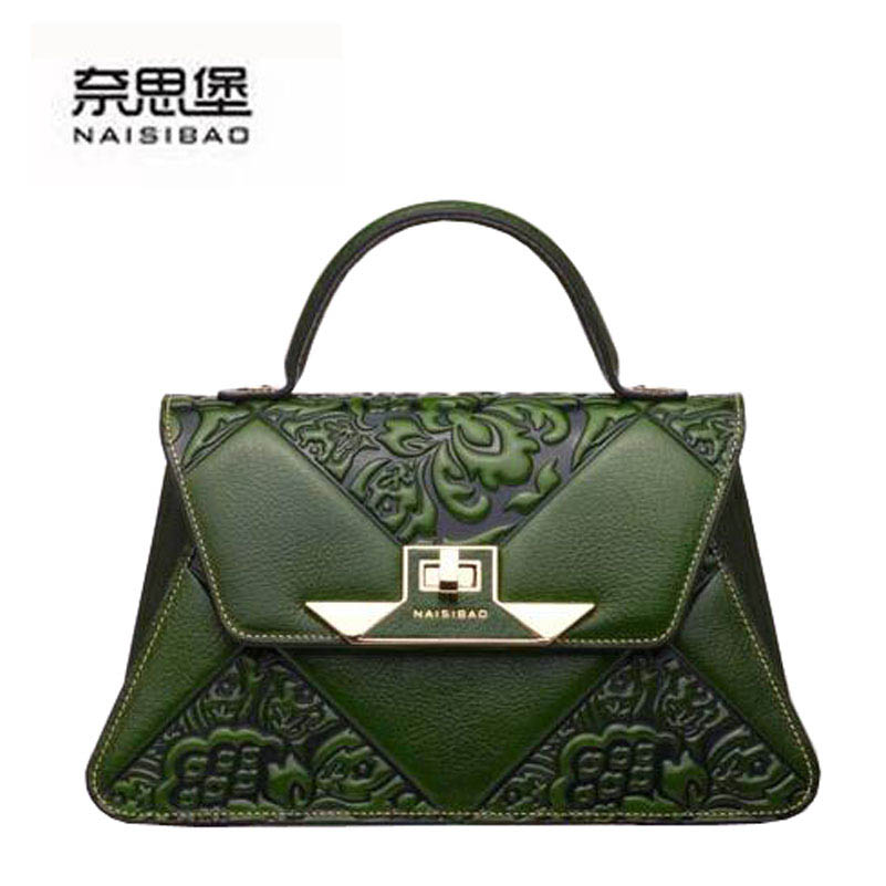 NASIBAO New  Embossed Floral Cowhide Leather Tote Style Ladies Genuine Leather Convertible Handle Bag shoulder Handbags nasibao new embossed floral cowhide leather tote style ladies genuine leather bag convertible handle bag shoulder handbags