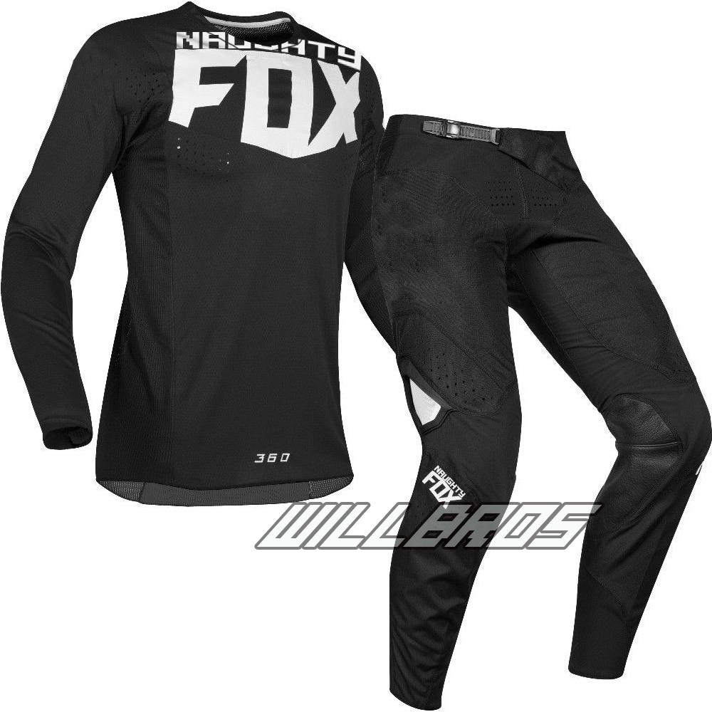 Livraison gratuite 2019 vilain Fox MX 360 Kila Jersey pantalon Motocross Dirt bike vtt adulte Racing noir Gear Set