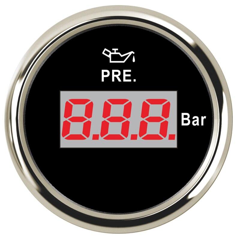 Able 52mm Auto Oil Press Gauge Meter 0-10 Bar Digital Led Fit Truck Car Motorcycle Vessel Gauge Meter 9-32v With Backlight