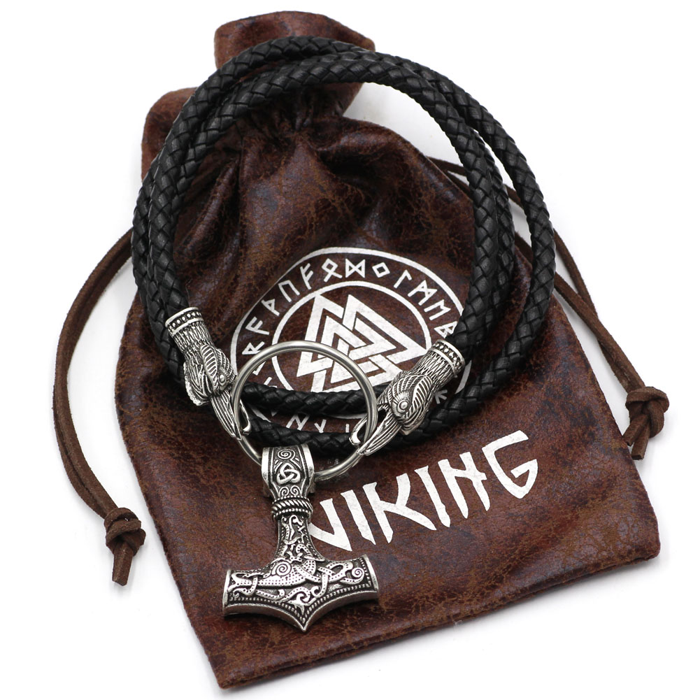 Mens Viking Thors Hammer & Axe Chain Necklace