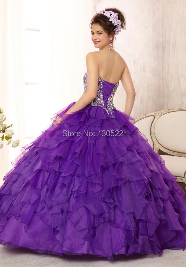 Free shipping QD 198 latest design corset top puffy skirt purple ...