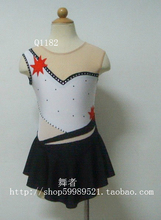 Professional skating competition dresses black white color figure skate dress for children free shipping customize