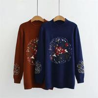 Plus size dark blue & Caramel color autumn winter women pullovers 2018 Turtleneck Jacquard Knitted ladies sweater wool female