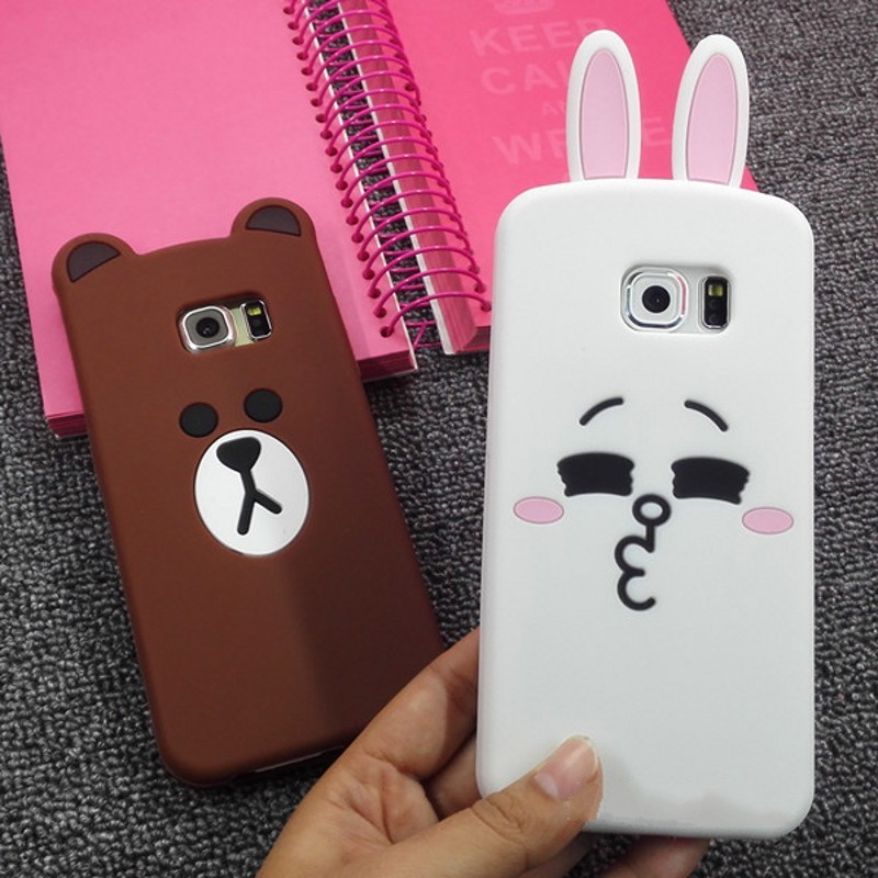 3d cute cartoon bear rabbit ultra thin protective cover case for samsung galaxy S3 S4 S5 S6 S7