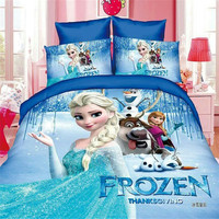 Disney Cartoon Frozen Elsa Bedding Sets Single Twin Size 2 3 4pc Princess Anna Girls Kids