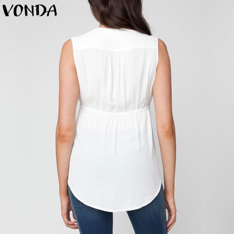 6dcc2e291 VONDA de 2019 mujeres camisas de verano Sexy Cuello V sin mangas Casual  suelto embarazo blusas Tops Plus tamaño asimétrico 5XL en Blusas y camisas  de Mamá y ...