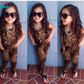 Free Shipping 2015 girls leopard short-sleeved clothing set children European and American leopard short-sleeved sets
