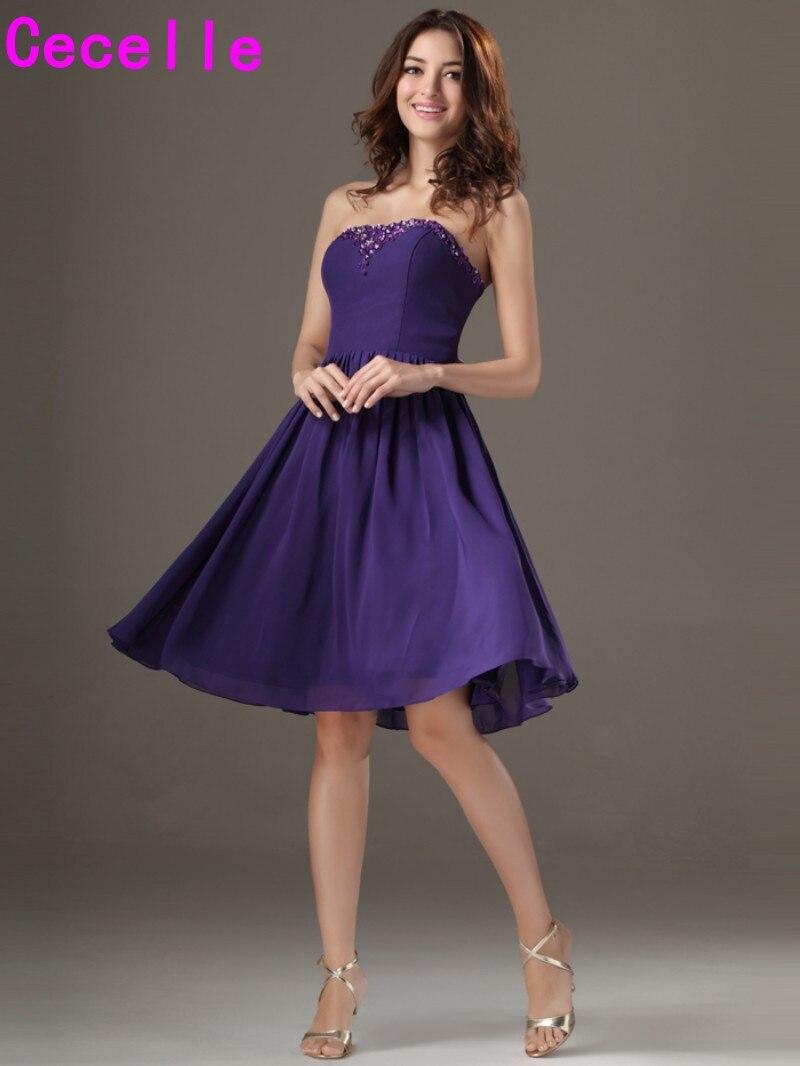 Purple Short Knee Length Beaded Chiffon Bridesmaid Dresses Strapless ...