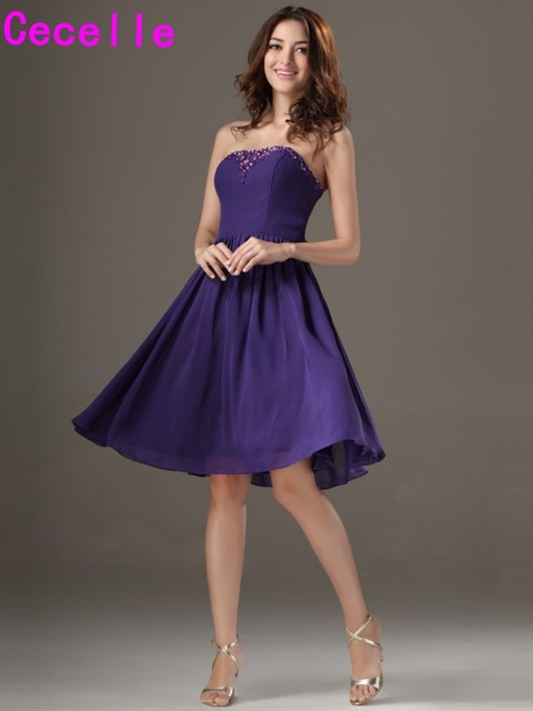 Purple Short Knee Length Beaded Chiffon Bridesmaid Dresses