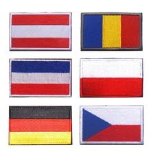 Европа Германия Польша Румыния Нидерланды Австрия Чехия флаг вышивка патчи