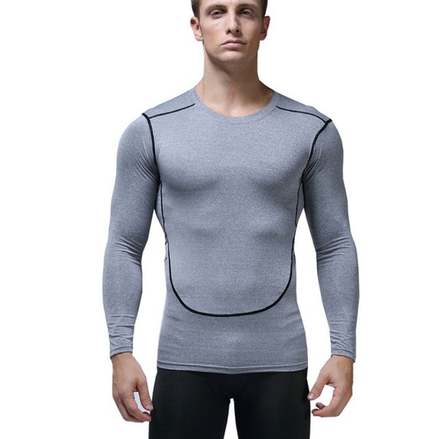 d717163e9cd4b US $9.9 |Aerfey Men Sports Gym T shirt Fitness Training Fast Dry Tight  Clothes Long Sleeve Shirts Football Top Large Size 2XL-in Trainning &  Exercise ...