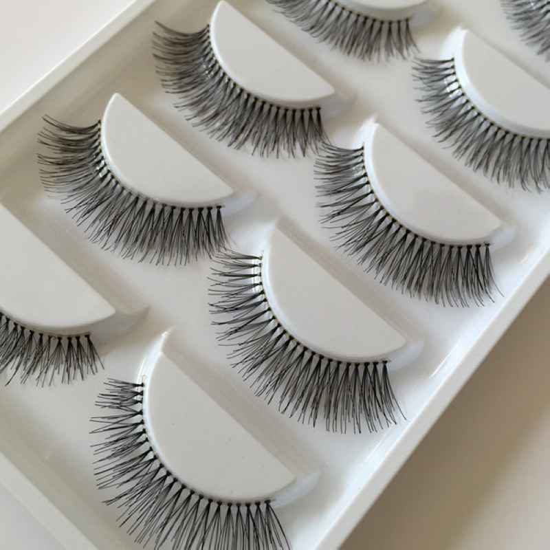 5 Pairs Natural Long Fake Eyelashes Sparse Cross Eyelashes Black False Eye Lashes Extiension Shellhard