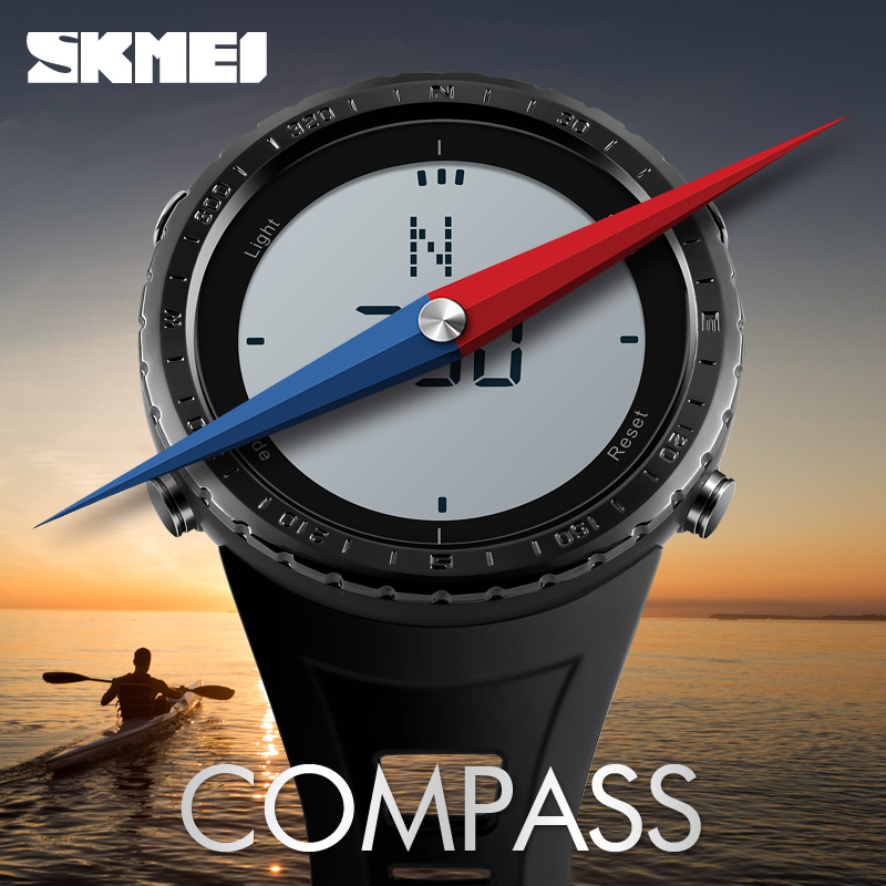 SKMEI Men's Watches Compass Stopwatch Chronograph World Time Week Date LED Display Digital Watch Clock Man Sport Watches For Men skmei skmei big dial dual time display sport digital watch men chronograph analog led electronic wristwatch s shock clock
