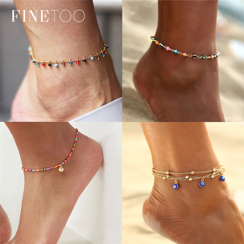 Fashion Colorful Crystal Beads Drop Anklets for Women Summer Ocean Beach Ankle Bracelet Foot Leg Jewelry 2019