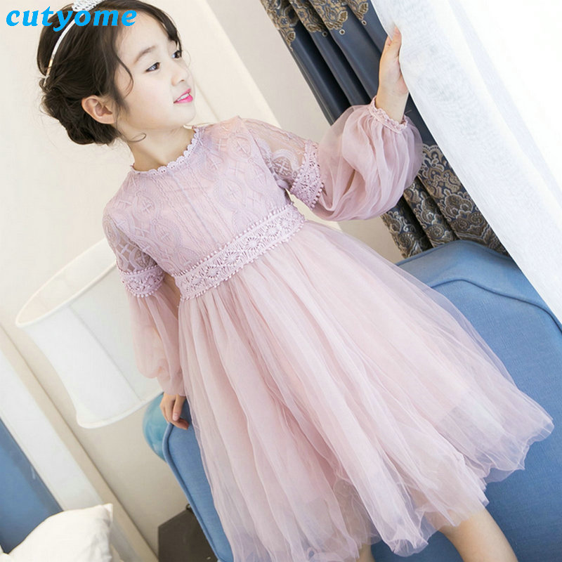 Cutyome Children Girls Summer Lace Dress Long Sleeve Princess Evening Party Dresses For 3-8Y Kids Toddler Girl Cute Clothes summer dresses for girls lace bow birthday party long sleeve costume clothes children fashion evening princess kids party dress