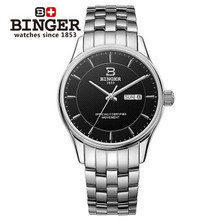 Branded Binger Watches hollow transparent bottom Stainless steel band Automatic Mechanical Watch Quality Certified Wristwatch