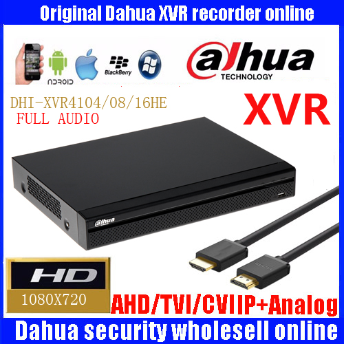 Original Dahua XVR 4/8/16 Ch 720P 1U Security DH-XVR4104HE DH-XVR4108HE DH-XVR4116HE Support HDCVI/ AHD/TVI/CVBS/IP 1 SATA HDD