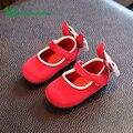 Claladoudou 2017 Del Otoño Del Resorte Rojo Zapatos Del Bebé Para Los Niños Zapatos de la muchacha Tamaño 3 Bowtie Lindo Infantil de La Muchacha Zapatos de Los Niños calzado
