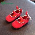Claladoudou 2017 Primavera Outono Do Bebê Vermelho Menina Sapatos Para Crianças menina Sapatos Tamanho 3 Bonito Bowtie Infantis Menina Sapatos Crianças calçado