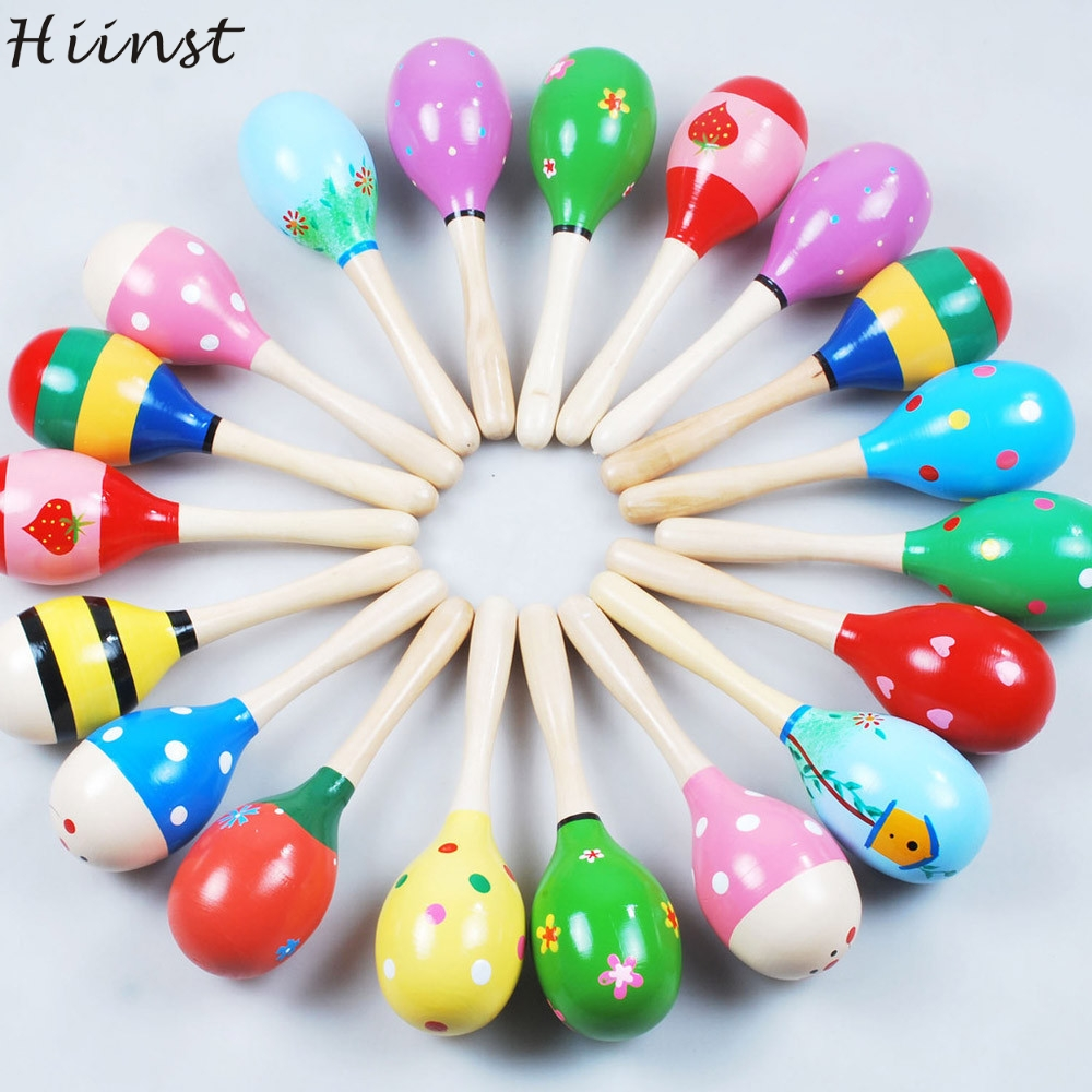 HIINST Sand Hammer Mini Wooden Ball Children Toys Percussion Musical Instruments Wholesale MallToy Drop Ship Aug14