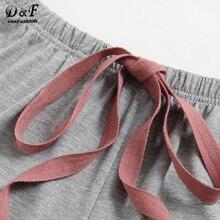 Pajamas Set Women Letter Set Two Piece (Grey )