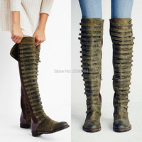 New Arrival Fashion Women Boots Booties Boho Bohemia Style Boots Knee High Boots Patchwork Charm Flat Boots Drop Shipping Shoes