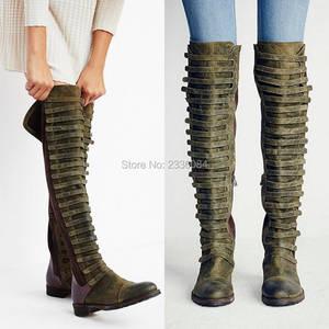 92d064abcb63 LOSLANDIFEN Women Booties Style Knee High Boots Flat Shoes