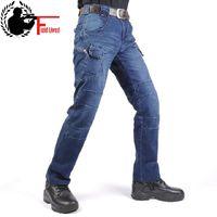 JEANS MEN 2019 Cargo Elastic Waist Jean Pants High Quality Clearance Tactical Denim Multi Pocket Male Trouser Cargo Jeans Men