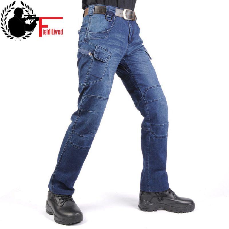 JEANS MEN 2020 Cargo Elastic Waist Jean Pants High Quality Clearance Tactical Denim Multi Pocket Male Trouser Cargo Jeans Men