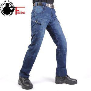 Image 1 - Jeans Mannen 2020 Cargo Elastische Taille Jean Broek Hoge Kwaliteit Klaring Tactische Denim Multi Pocket Man Broek Cargo Jeans Mannen