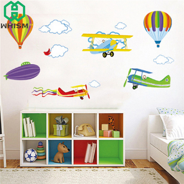WHISM Cartoon Hot Air Balloons Wall Stickers For Kids Rooms Decorative Wall  Art Murals Airplane Wall