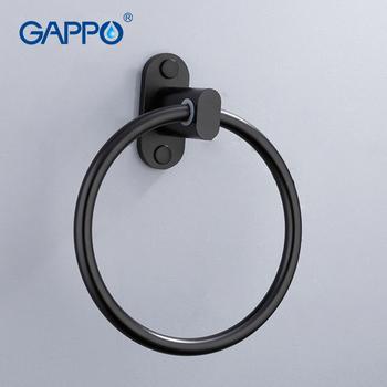 GAPPO czarny pierścienie ręcznik wieszak ręczniki nowoczesna łazienka pierścień aluminiowy uchwyt na ręczniki wieszak na ręczniki wieszak na ręczniki ręcznik bar farba w sprayu miejsca łazienka akcesoria tanie i dobre opinie Aluminium Y18054 Lakierowane